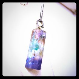 Handmade prismatic resin necklace